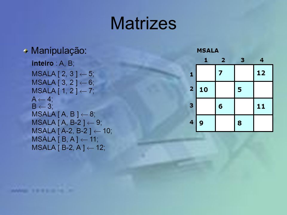 Matrizes Manipulação: inteiro : A, B; MSALA [ 2, 3 ] ¬ 5;